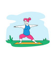 fat girl in sports wear doing fitness yoga vector image vector image