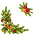 fir corner with decorations vector image vector image