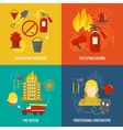 Firefighting icons composition vector image vector image