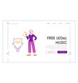 free download landing page template woman holding vector image vector image