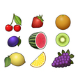 Fruits collection isolated on white background vector image vector image