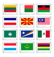 Group of National Flags on Metal Texture Plates vector image
