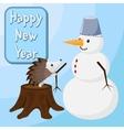 Hedgehog is building a snowman Happy new year vector image vector image