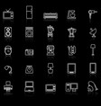 household line icons with reflect on black vector image vector image