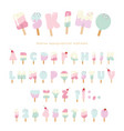 ice cream eskimo font popsicle colorful letters vector image