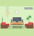 interior design of living room in flat style with vector image vector image