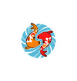 koi fish whirlpool logo design symbol icon vector image
