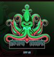 kraken octopus esport mascot logo design vector image vector image