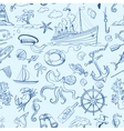 Nautical or marine themed seamless pattern vector image vector image
