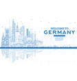 outline welcome to germany skyline with blue vector image
