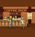 people working in a coffee shop vector image