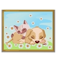 picture cute kitten sleeping on a puppy vector image