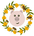 pig and leafy wreath vector image