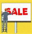 pop art businessman in helmet with billboard vector image