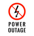 power outage electricity symbol in red ban circle vector image vector image