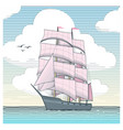 sailboat with scarlet sails vector image