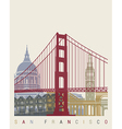 San Francisco skyline poster vector image vector image