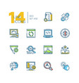 seo - set of line design style icons vector image vector image