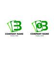 set b logo money flat logo template vector image