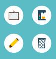 set of bureau icons flat style symbols with desk vector image vector image