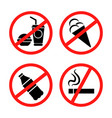 signs forbidding different actions vector image vector image