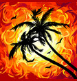 silhouettes palm trees on abstract red sunset vector image vector image