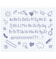 sketched alphabet and doodles on copybook sheet vector image vector image