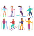 skiers set men and women ski trendy flat vector image