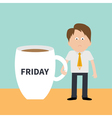 Sleepy businessman manager Friday coffee cup mug vector image