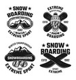 snowboarding set four vintage emblems vector image vector image