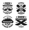 Snowboarding set of four vintage emblems
