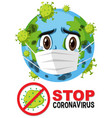 stop coronavirus prohitbit sign with earth vector image vector image