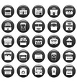 street food kiosk icons set vetor black vector image