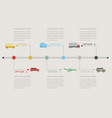 timeline infographic with transportation icons vector image