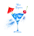 Watercolor Blue Lagoon Cocktail vector image vector image