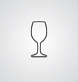 wineglass outline symbol dark on white background vector image