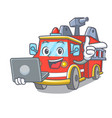 with laptop fire truck character cartoon vector image vector image