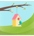 birds and birdhouse spring vector image