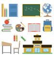 school flat set on white vector image
