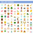100 joy icons set flat style vector image vector image