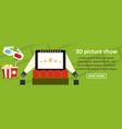 3d picture show banner horizontal concept vector image