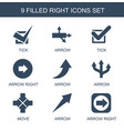 9 right icons vector image vector image