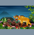 a hyena looking for prey at night vector image vector image