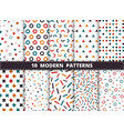abstract colorful modern geometric pattern set vector image vector image