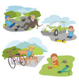 accident with kids on road people scenes flat set