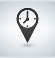 an isolated map mark with a clock vector image vector image