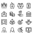 Bank financial icon set in thin line style