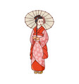 beautiful geisha in japanese kimono with umbrella vector image