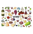 bid hand drawn set with wine different cheese vector image vector image