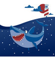 big shark banner cartoon vector image vector image